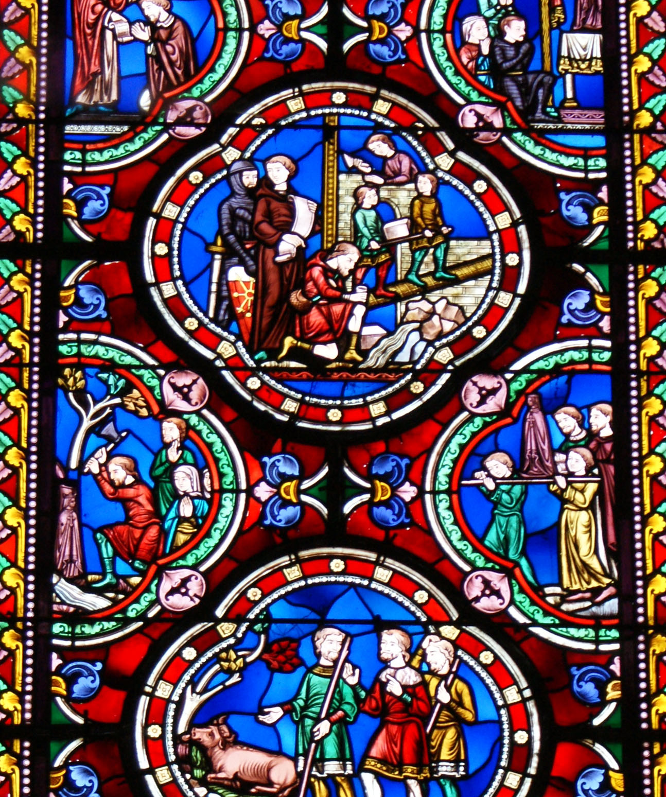 Atelier Lobin, Vitrail de l'église Saint-Ours représentant le miracle de Notre-Dame de Beautertre (1881)